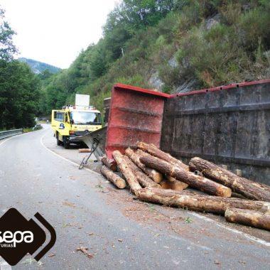 Herido al volcar el camión que conducía en Mazonovo (Santa Eulalia de Oscos)