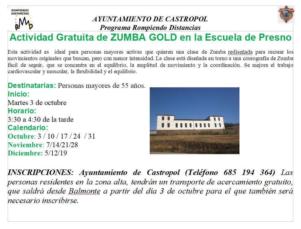 Actividad de ZUMBA GOLD para mayores de 55 años en la Escuela de Presno