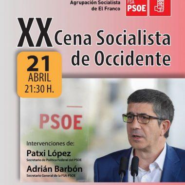XX Cena Socialista de Occidente, este 21 de abril, en A Caridá