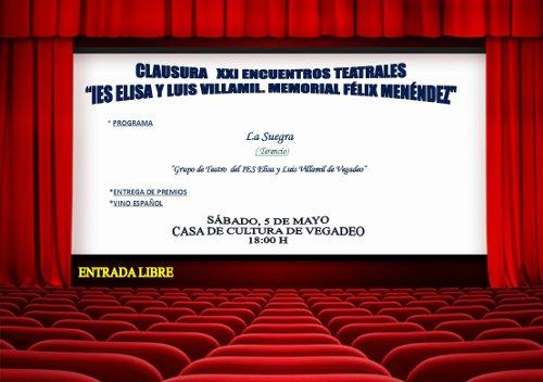 Clausura de los XXI Encuentros Teatrales de Vegadeo, el 5 de mayo