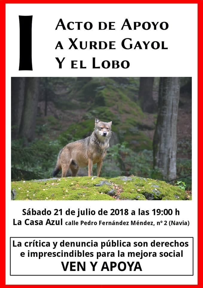 Primer Acto de Apoyo a Xurde Gayol y el lobo, el sábado, 21 de julio, en Navia