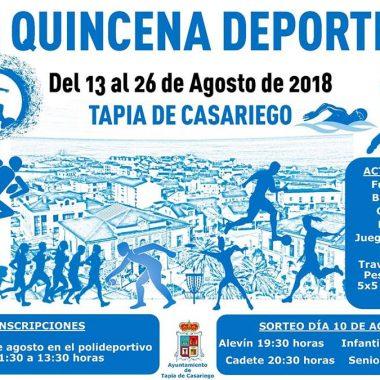 Abiertas las Inscripciones para la Quincena Deportiva de Tapia que se celebrará del 13 al 26 de Agosto