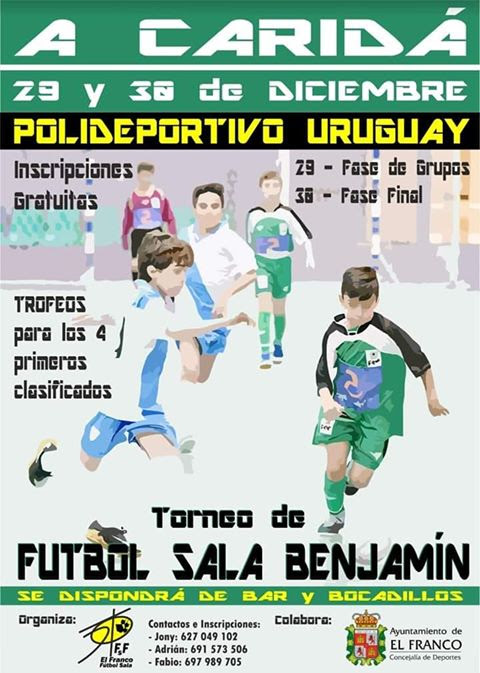 Torneo de Fútbol Sala Benjamín los días 29 y 30 de diciembre en La Caridad