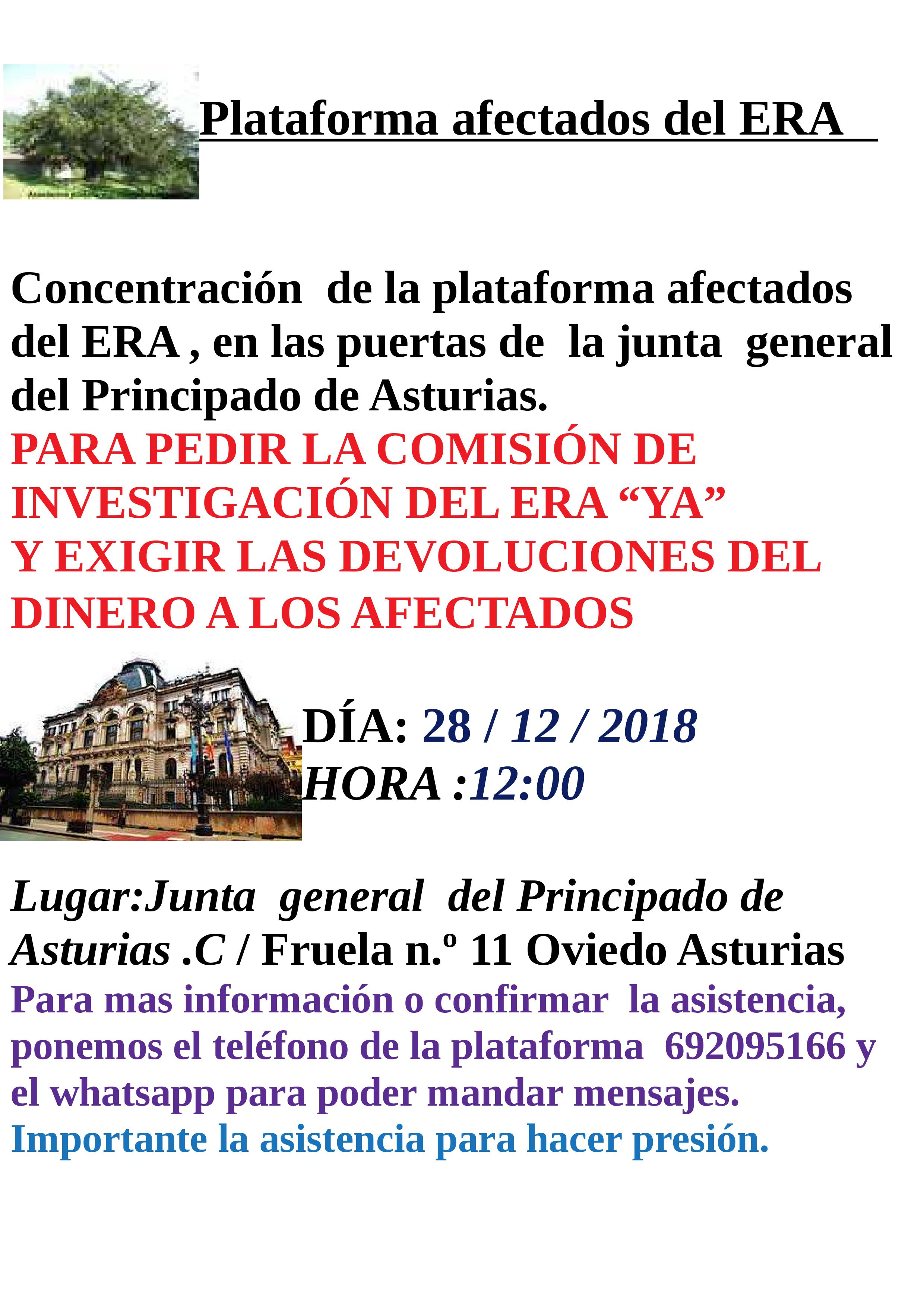 La Plataforma de Afectados por el ERA convoca una concentración ante la Junta General del Principado, este 28 de diciembre