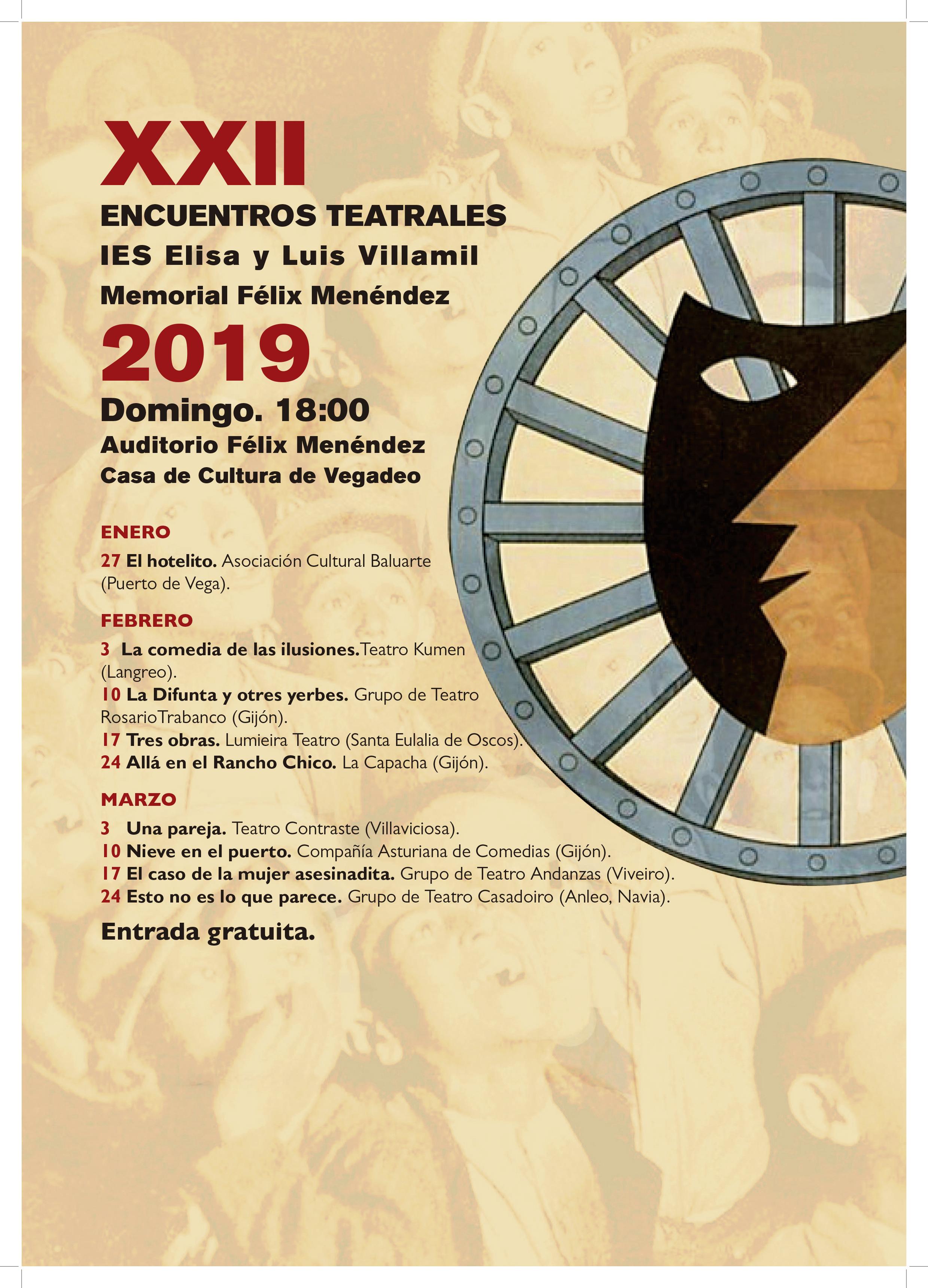 XXII Encuentros Teatrales del IES de Vegadeo, del 27 de enero al 24 de marzo