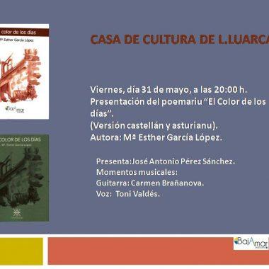 """La valdesana Mª Esther García presenta el poemario """"El color de los días"""" en Luarca"""