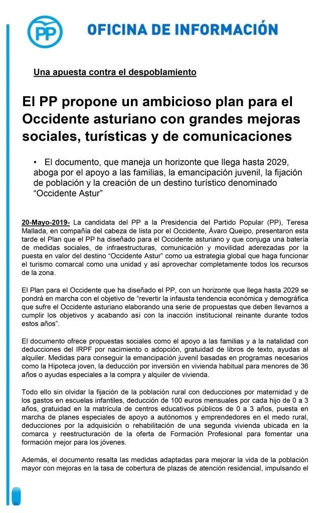 El PP propone un plan para frenar la pérdida de población en el Occidente