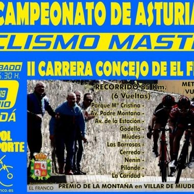 Abiertas las inscripciones para la II Carrera Ciclista Máster El Franco que se disputa el 15 de Junio