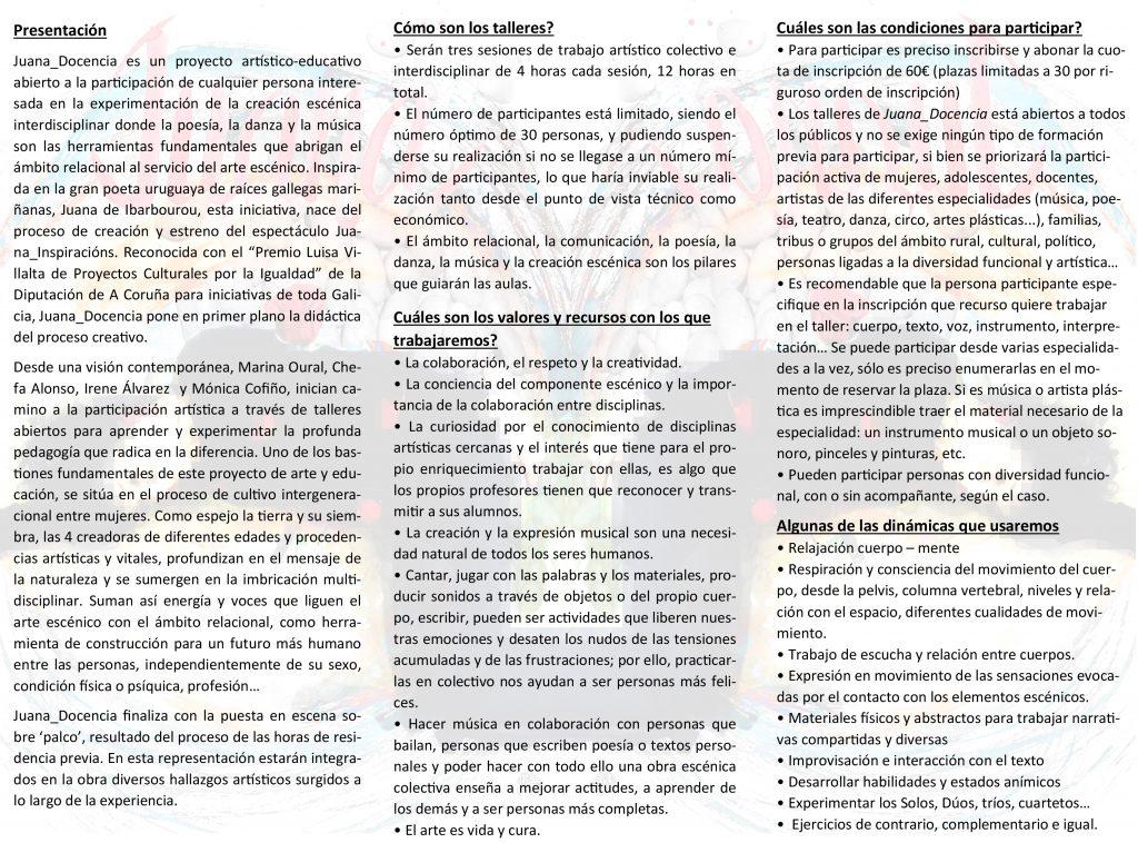 "aller de Creación Escénica Interdisciplinar ""JUANA_Docencia"" en Castropol"