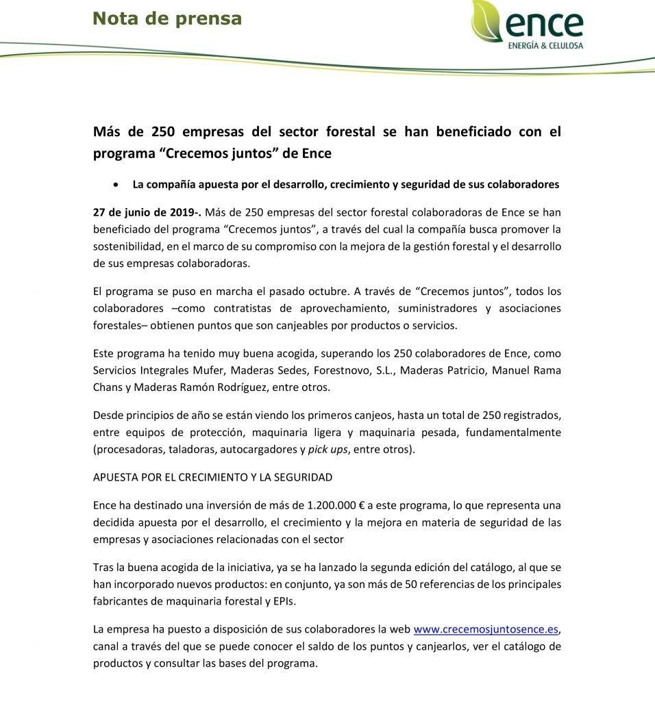 """Más de 250 empresas del sector forestal se han beneficiado con el programa """"Crecemos juntos"""" de Ence"""