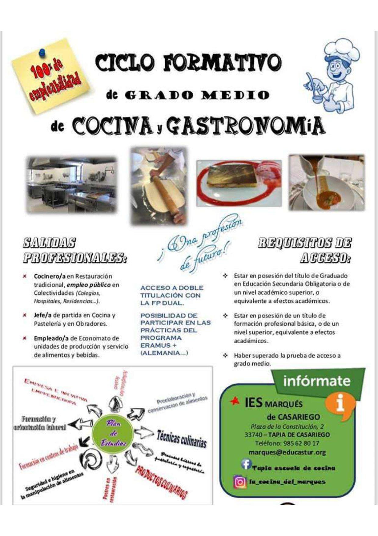 Ciclo Formativo de Grado Medio de Cocina y Gastronomía en el IES de Tapia