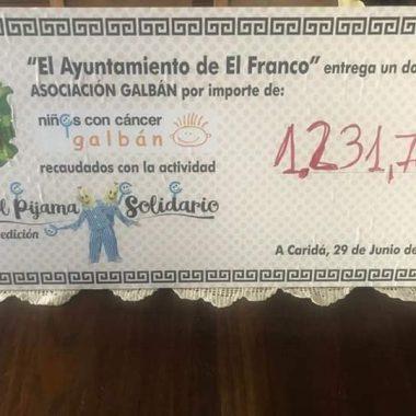 El Pijama Solidario de El Franco recauda 1.231, 46 euros para la Asociación Galbán