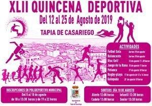 En marcha la XLII Quincena Deportiva de Tapia
