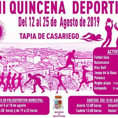 La XLII Quincena Deportiva de Tapia se celebrará del 12 al 25 de Agosto