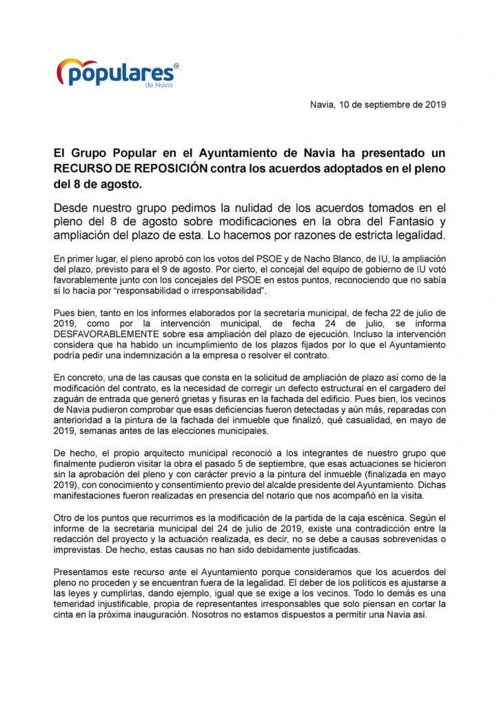 El PP de Navia presenta recurso de reposición contra los acuerdos adoptados en el Pleno del 8 de agosto
