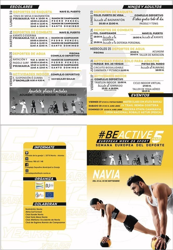 Navia celebra la Semana Europea del Deporte con distintas actividades en los Colegios e Instalaciones Deportivas Municipales