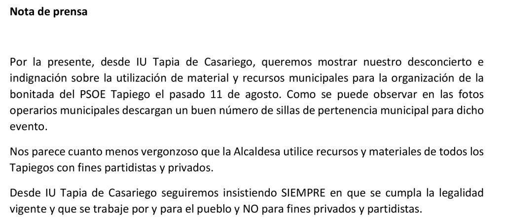 """IU de Tapia de Casariego denuncia la utilización de """"material y recursos municipales"""" para la organización de la Bonitada del PSOE"""
