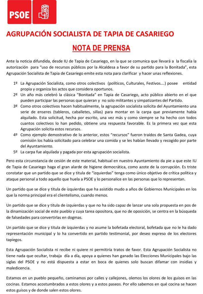 """La Agrupación Socialista de Tapia """"ni quiere ni permitiría tratos de favor"""", y responde a las acusaciones de IU"""