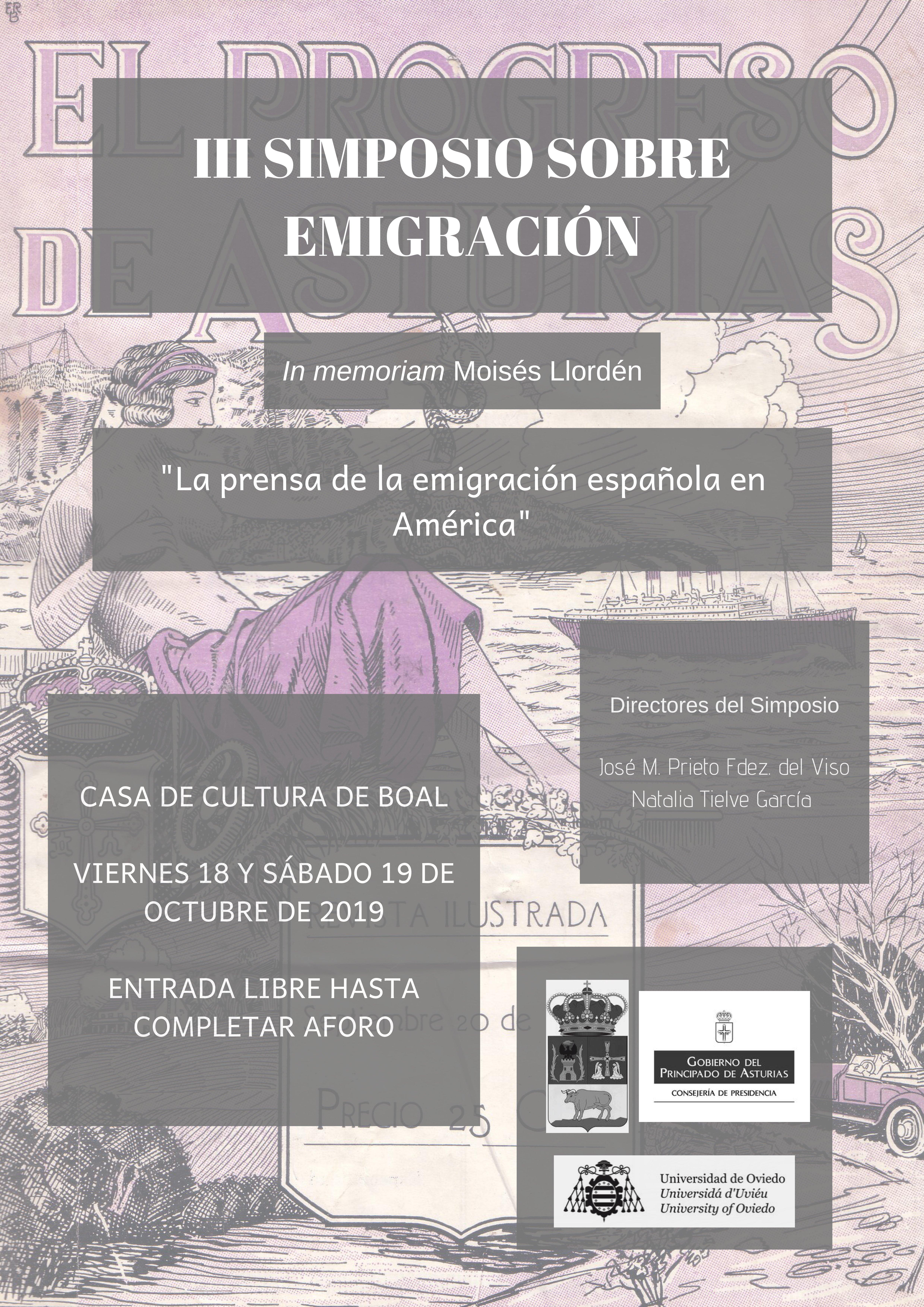 III Simposio sobre la Emigración en Boal, días 18 y 19 de octubre