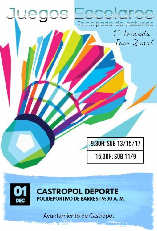 I Jornada Zonal de Bádminton de los Juegos Deportivos el domingo en el Polideportivo de Barres