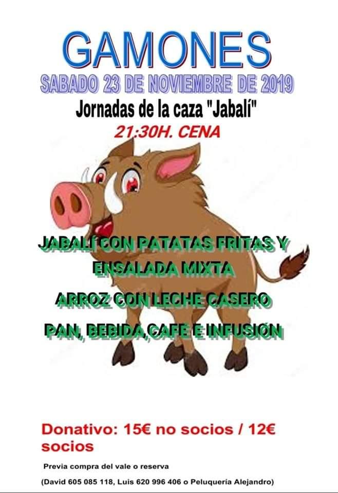 Gamones celebra el sábado su tradicional Jornada de Caza con una Cena de Jabalí