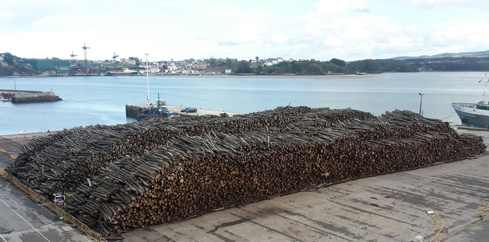 Ribadeo pide a Portos de Galicia que se retire la madera amontonada en el Puerto de Mirasol