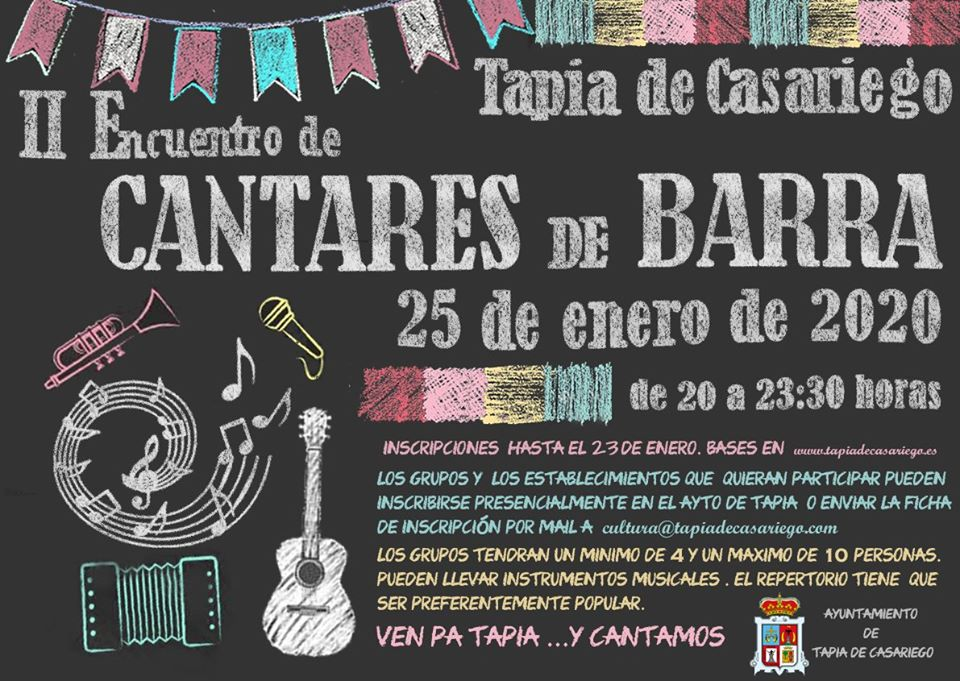 II Encuentro de Cantares de Barra en Tapia de Casariego el sábado 25 de enero