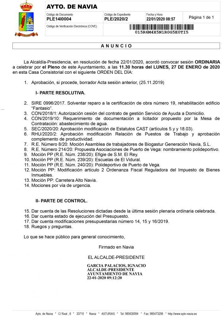 Las escuelas de El Vidural, el polideportivo de Puerto de Vega o la carretera As-12, mociones del PP de Navia al pleno municipal