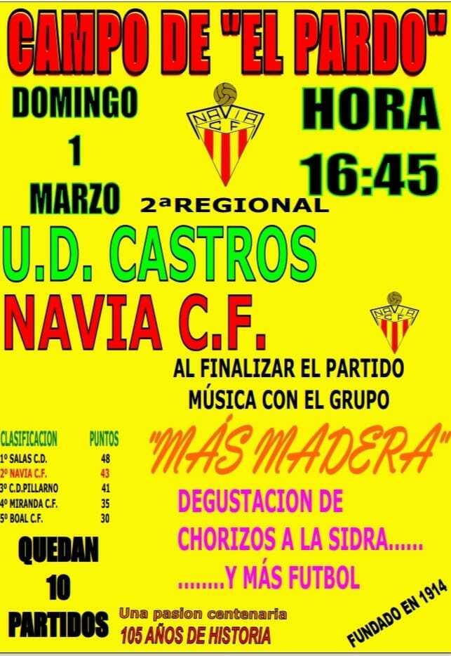 Navia CF-UD Castros el domingo, a las 16:45, en El Pardo con ambiente festivo