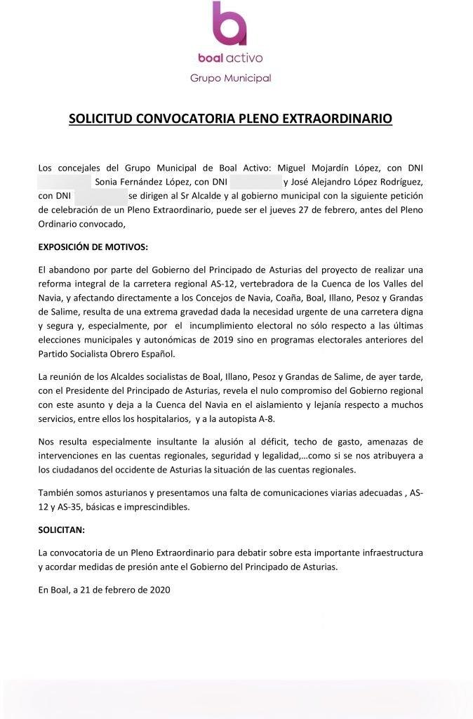 """Boal Activo pide un pleno extraordinario para debatir sobre la carretera As-12 y acordar """"medidas de presión"""""""