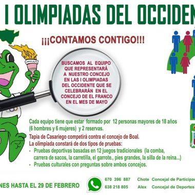 Abierta la inscripción para formar parte del equipo de Tapia en las I Olimpiadas del Occidente