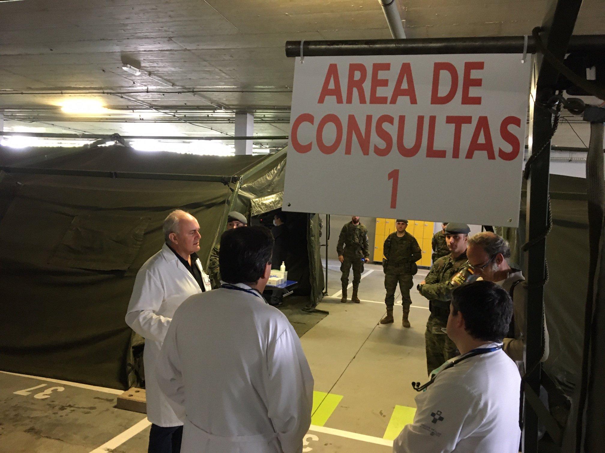 El hospital de campaña del HUCA recogerá muestras de coronavirus a profesionales sanitarios