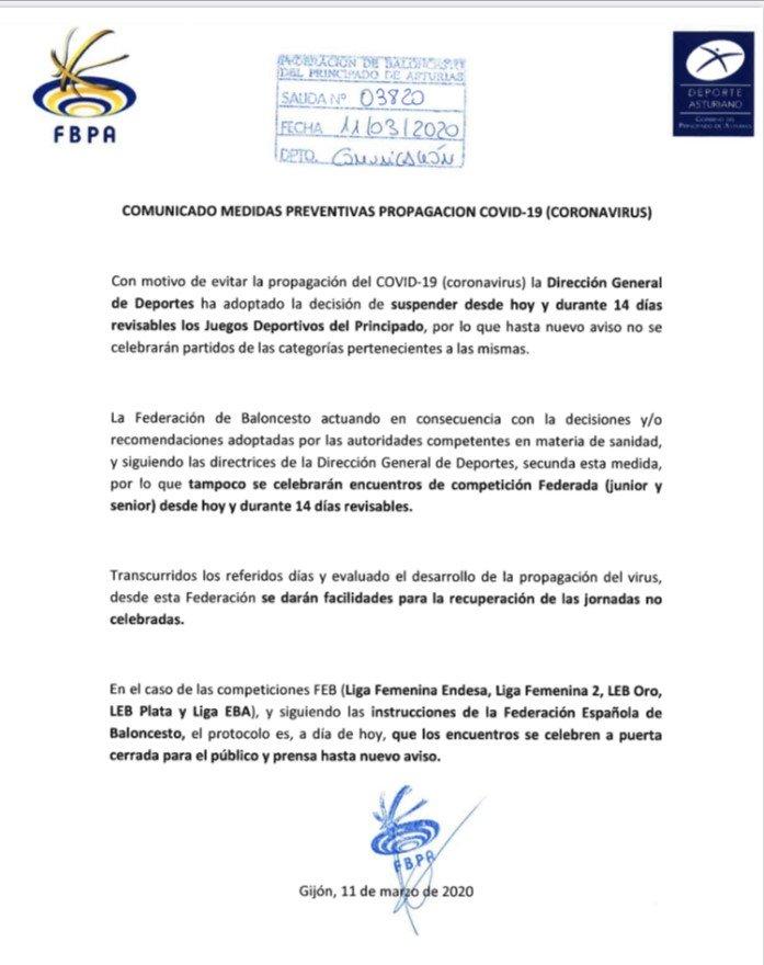 La Federación Asturiana de Baloncesto también suspende todos los partidos oficiales durante catorce Días por el Coronavirus