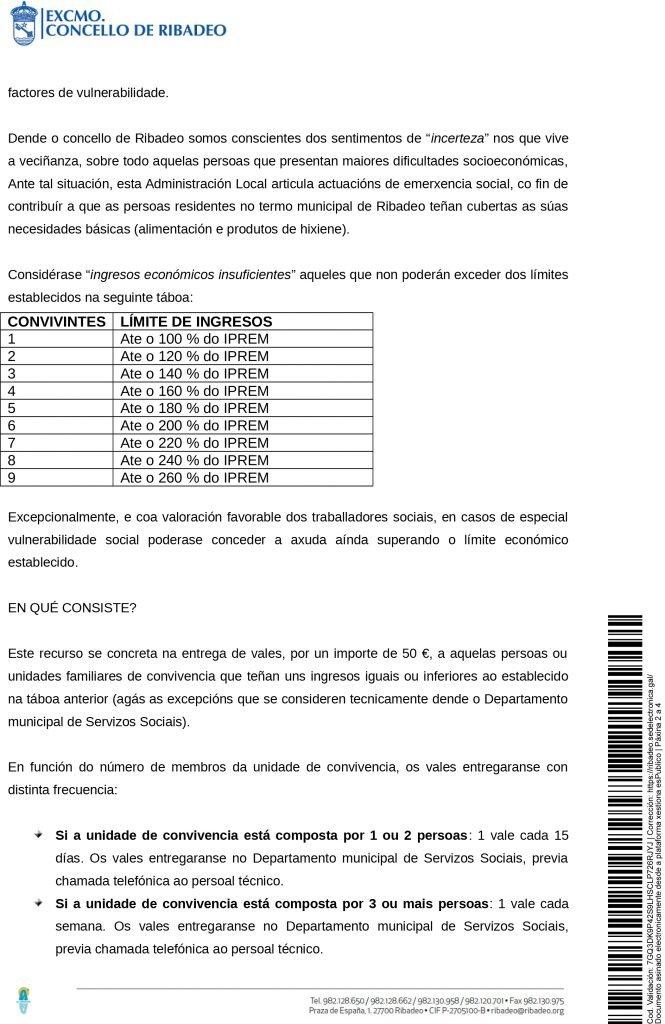 El ayuntamiento de Ribadeo concederá bonos a personas en situación de vulnerabilidad social para comprar productos perecederos y de higiene