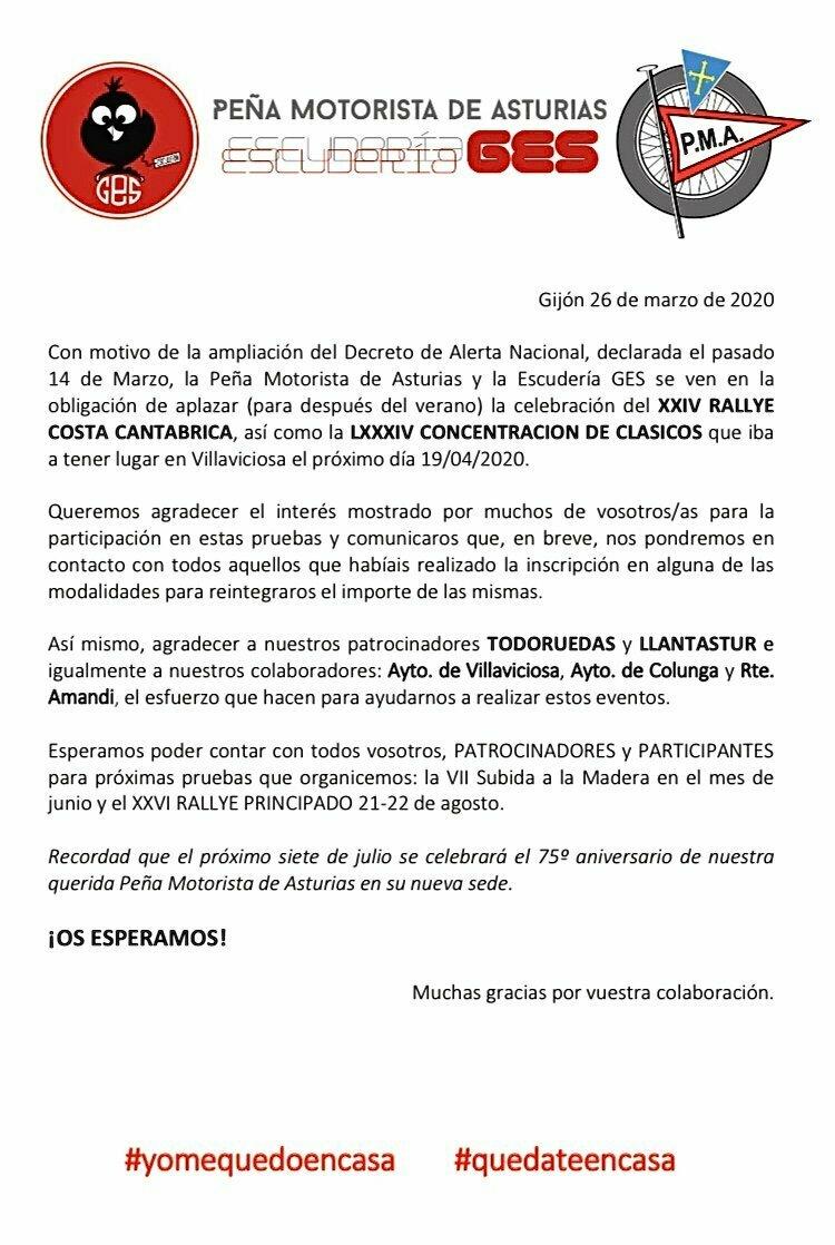 Aplazado el XXIV Rallye Costa Cantábrica así como la Concentración de Vehículos Clásicos de la Peña Motorista de Asturias