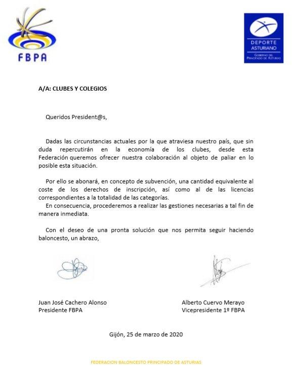 La Federación Asturiana de Baloncesto ayudará económicamente a los Clubes