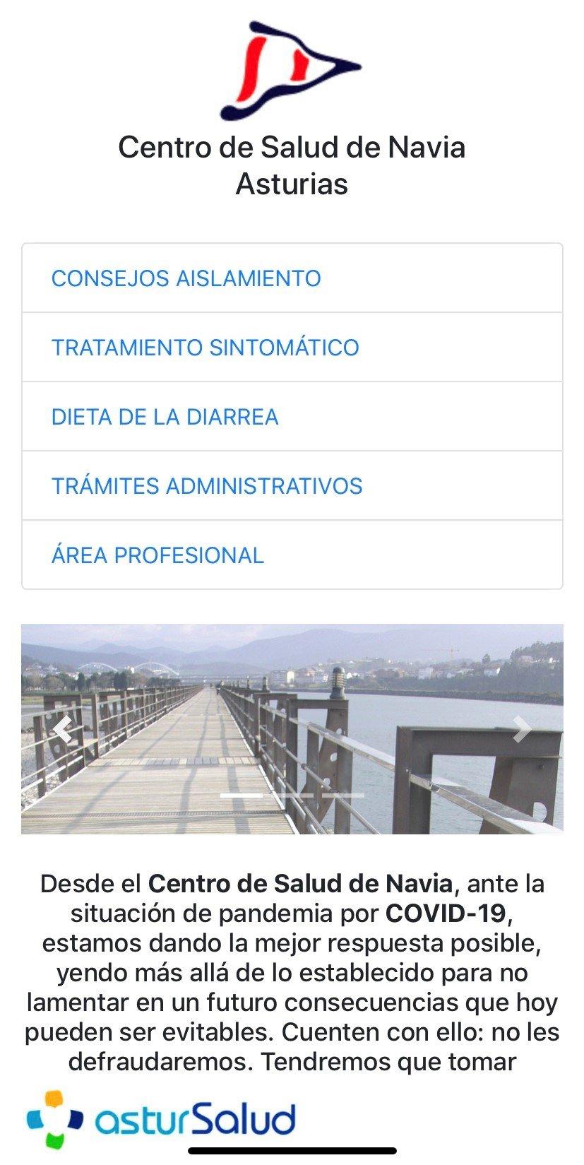 El Centro de Salud de Navia crea una web para informar sobre el coronavirus Covid- 19