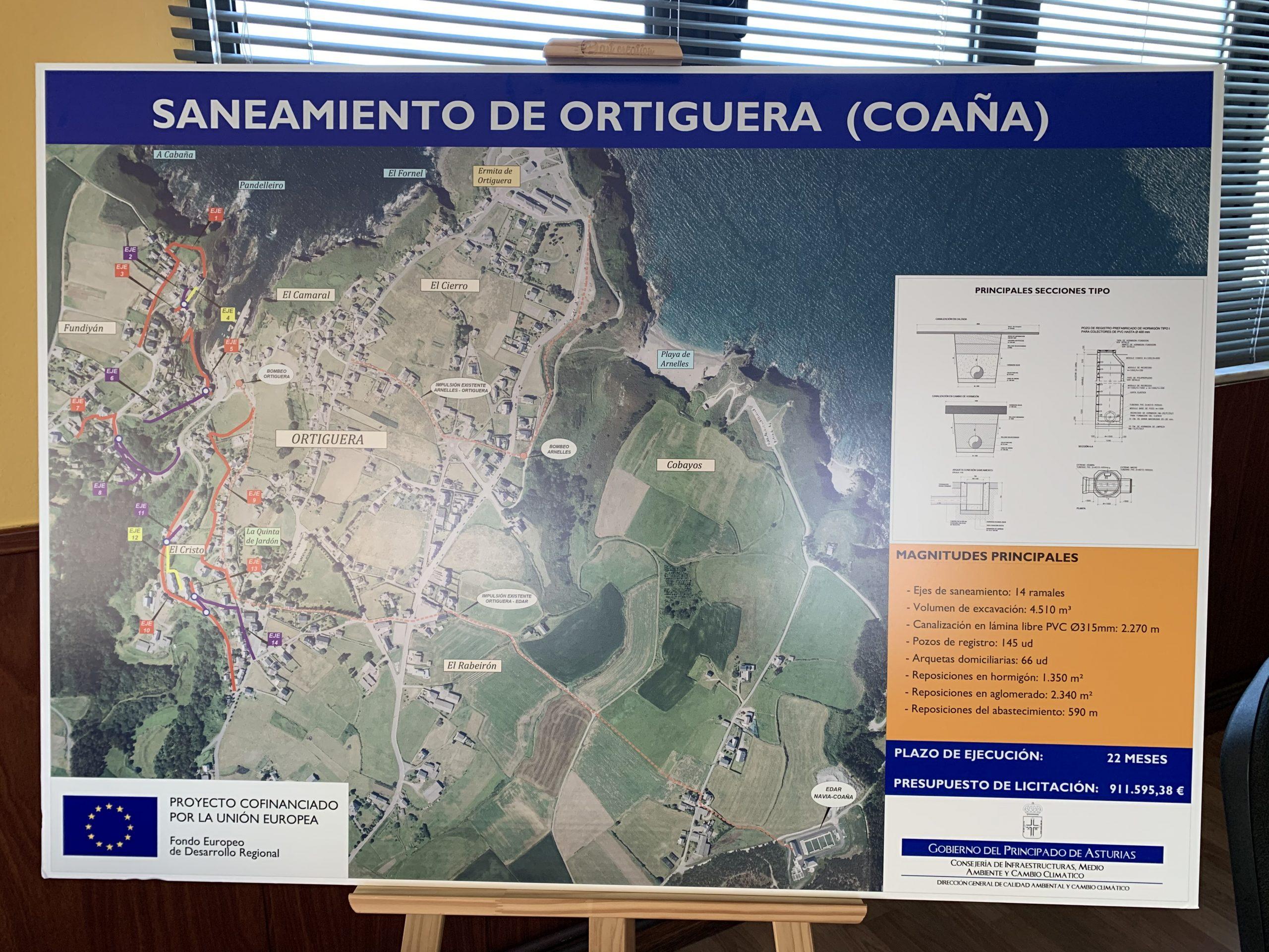 Comienzo inminente de las obras de saneamiento en Ortiguera (Coaña)