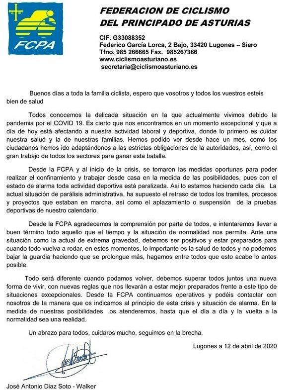 Carta de Ánimo del Presidente de la Federación de Ciclismo del Principado a toda la familia Ciclista Asturiana
