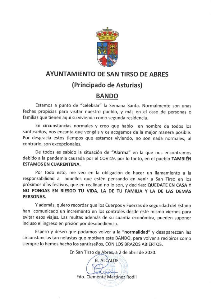 """San Tirso de Abres recuerda, pensando en Semana Santa, que """"en el pueblo también estamos en cuarentena"""""""