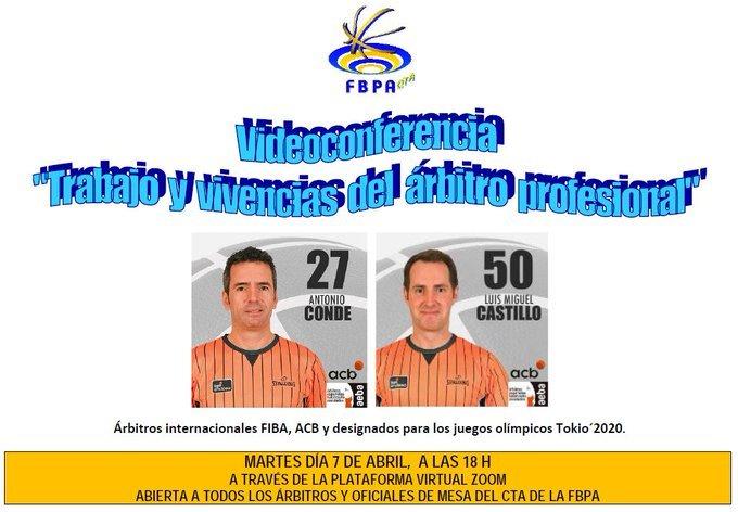 Videoconferencia sobre Arbitraje de Baloncesto organizada por el Comité de Arbitros de la Federación Asturiana de Basket