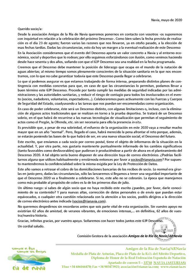 La Comisión Gestora de la Asociación Amigos de la Ría de Navia ha enviado una carta a sus socios para informarles de la situación actual en cuanto a la organización del 63 Descenso Internacional previsto para el 23 de agosto