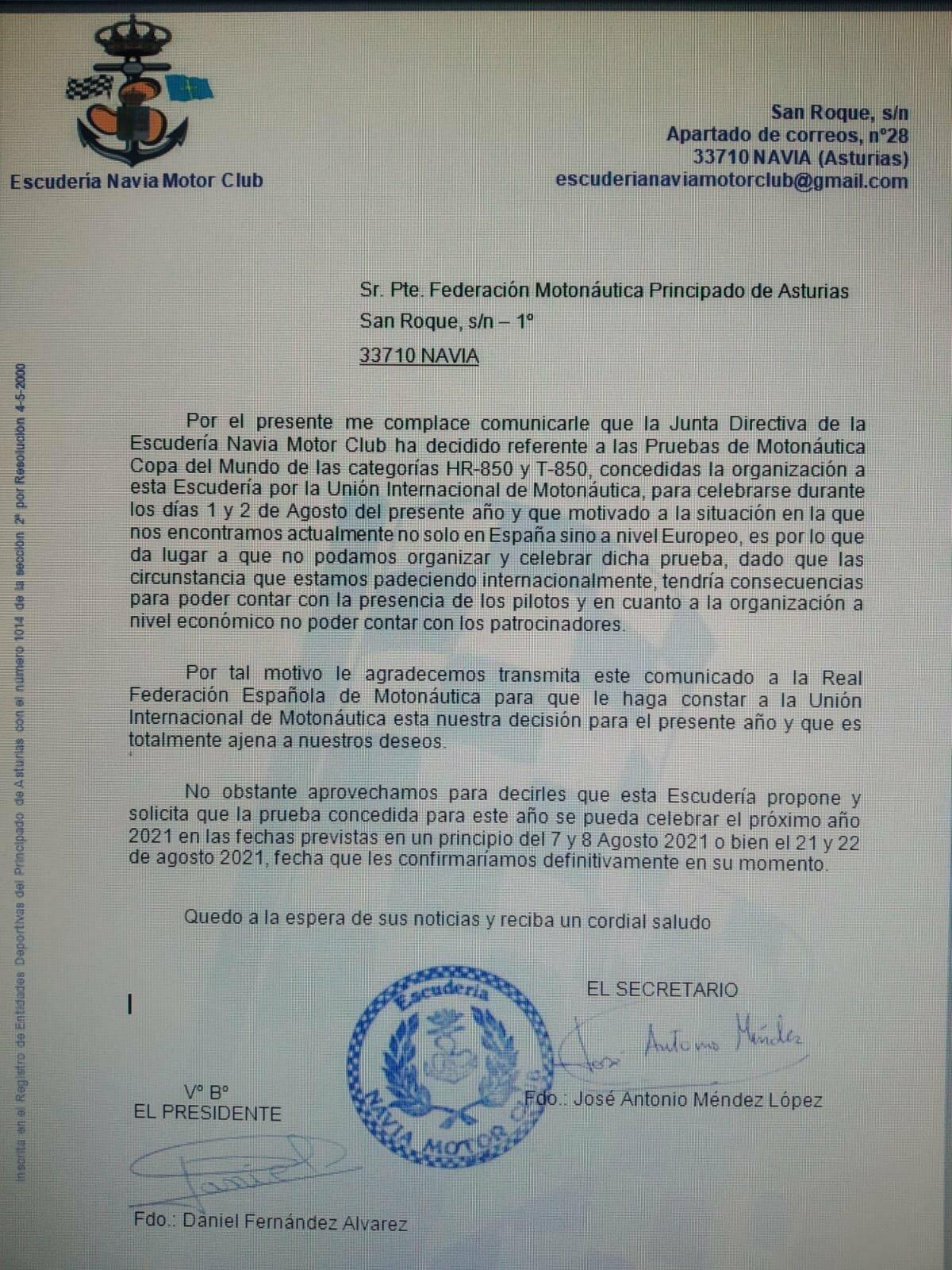 """Román Fernández: """"Decisión triste de anular este año la motonáutica pero creemos que acertada por la salud de todos"""""""
