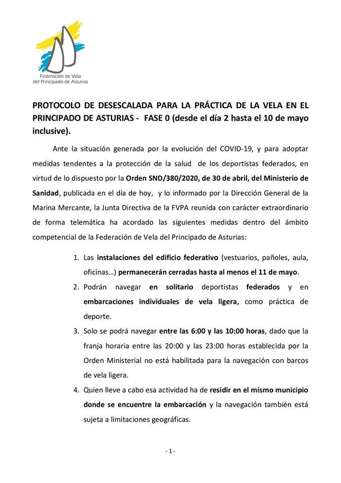 Protocolo de desescalada  para la Práctica de la Vela en el Principado de Asturias Fase 0