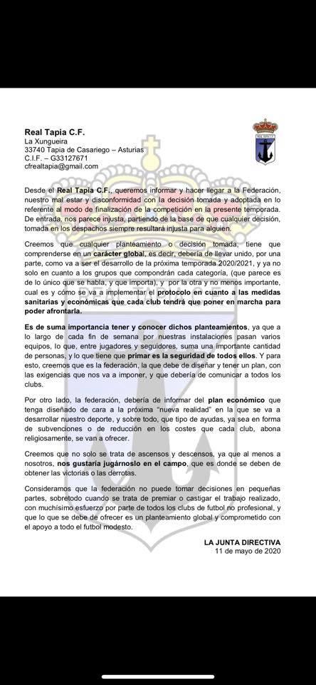 Escrito remitido por el Real Tapia a la RFAF sobre la situación de los clubes debido al Covid19