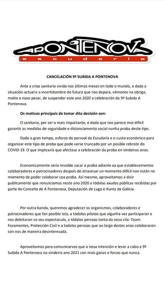 Cancelada la 9ª Subida Automovilística a Pontenova prevista para los días 4 y 5 de Julio