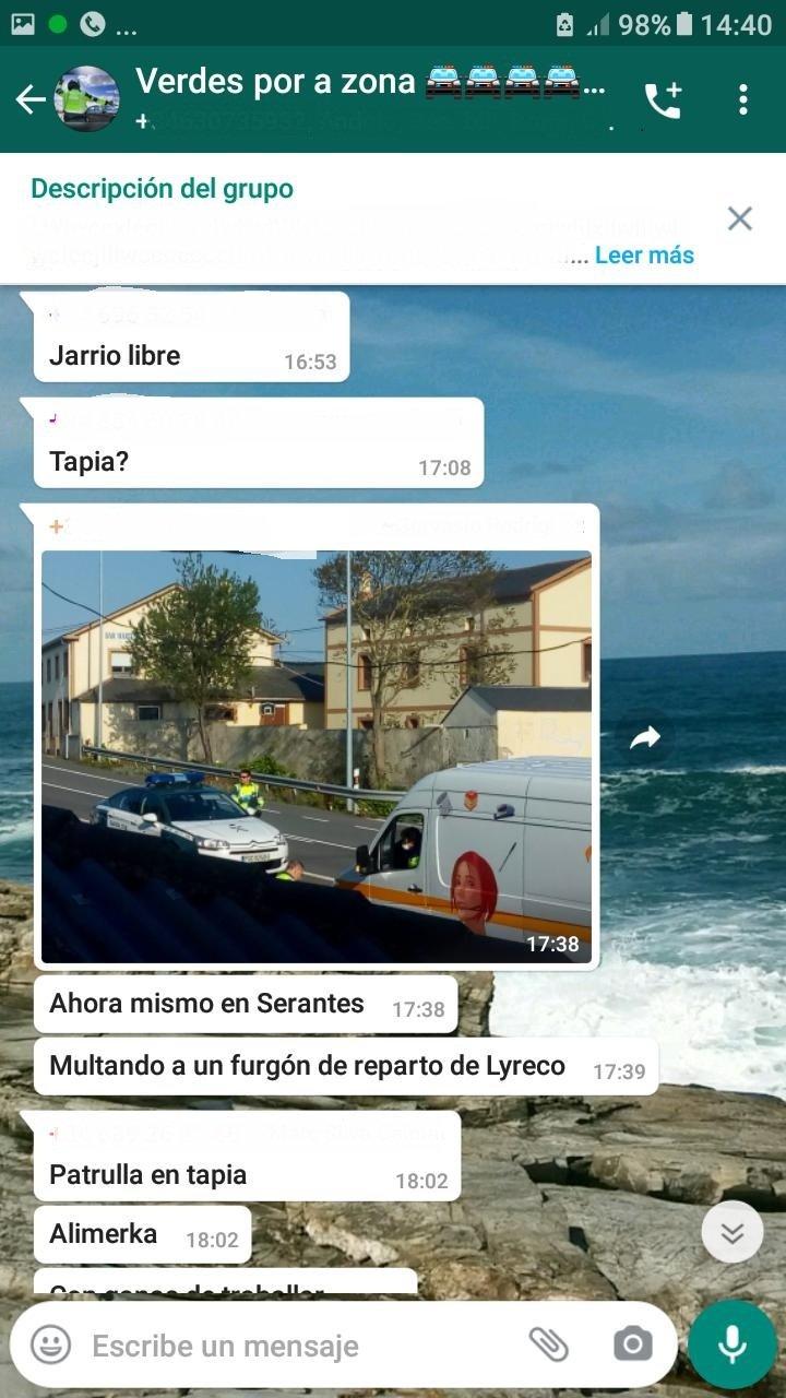 La Guardia Civil de Luarca propone para sanción a 18 personas por compartir ubicaciones e imágenes de Controles de Movilidad en dos grupos de WhatsApp.