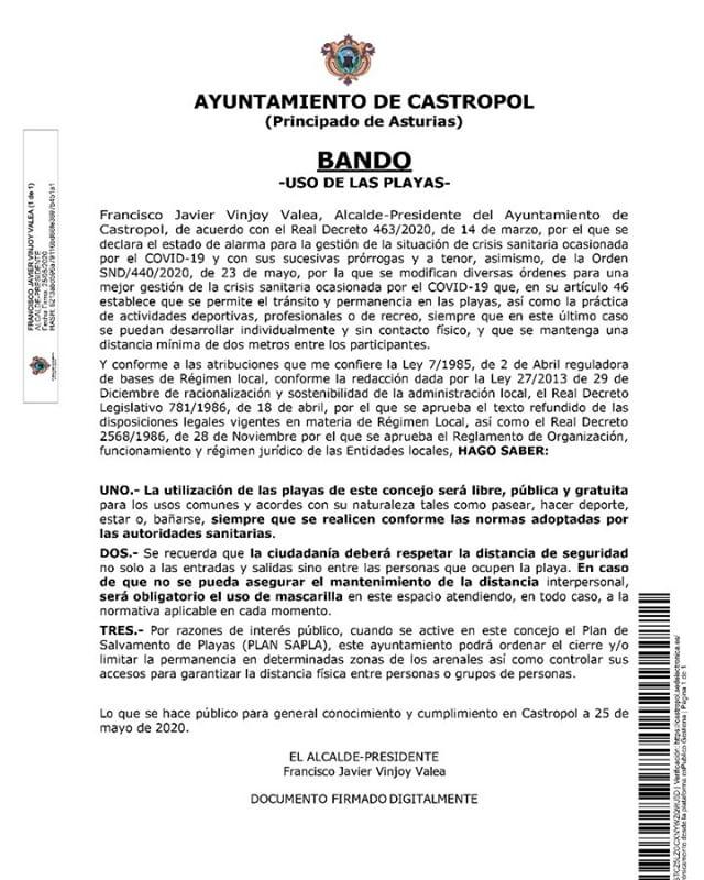 Bando del ayuntamiento de Castropol sobre el uso de sus playas