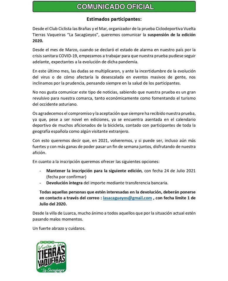 """Cancelada la V Vuelta Ciclodeportiva Tierras Vaqueiras """"La Sacagüeyos"""" prevista para el 18 de julio"""
