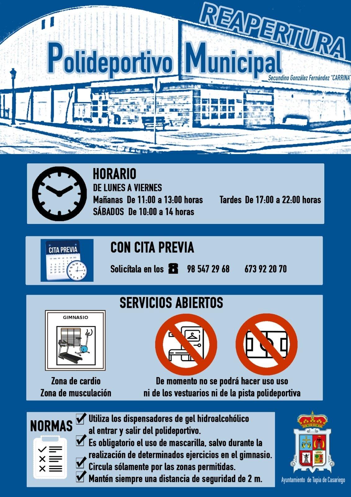 Reapertura del Polideportivo Municipal de Tapia aunque solo se podrá usar el Gimnasio